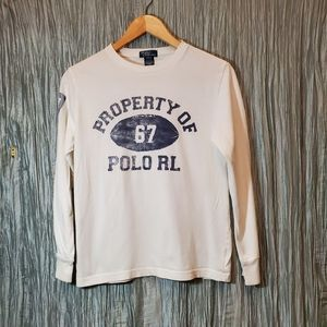 POLO RALPH LAUREN Boys Long Sleeve  White T-Shirt